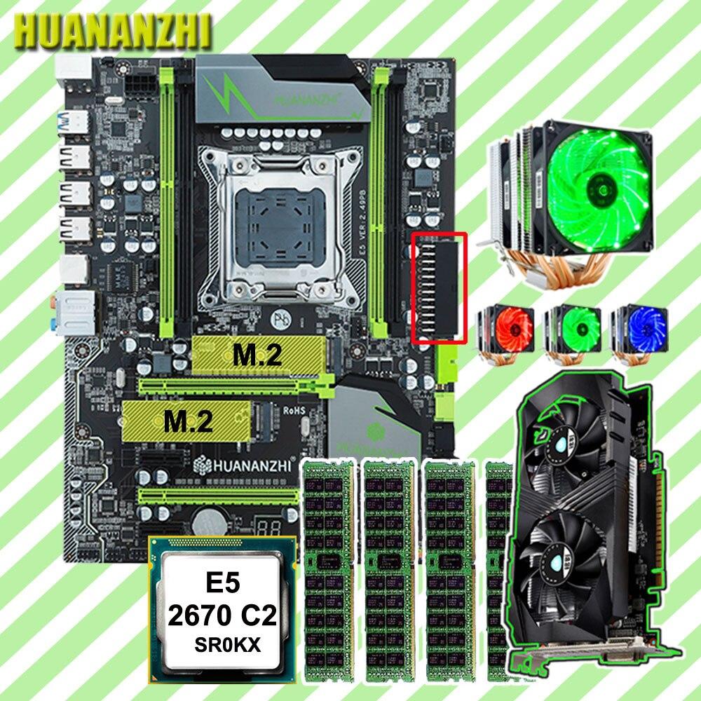 HUANANZHI X79 Pro con doble M.2 NVMe para CPU Xeon E5 2670 C2 6 tubos refrigerador RAM 32G (4*8G) tarjeta de vídeo GTX1050Ti 4G
