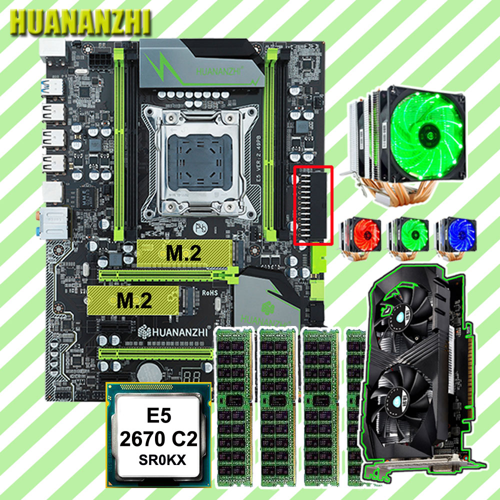 HUANANZHI X79 motherboard Pro com DUAL slot NVMe M.2 CPU Xeon E5 2670 C2 6 tubos RAM cooler 32G (4*8G) placa de vídeo GTX1050Ti 4G
