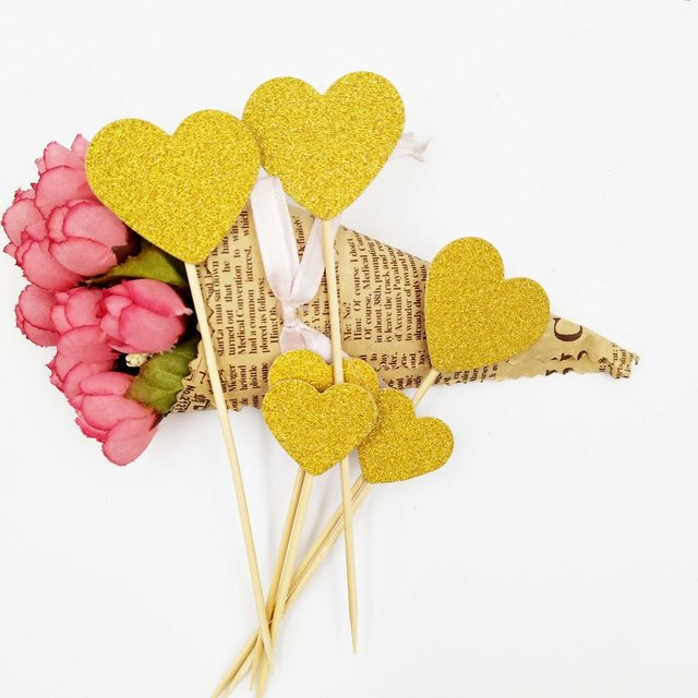 6pcs/bag Golden Heart Shaped Cake Topper Pick Toppers happy Birthday ...
