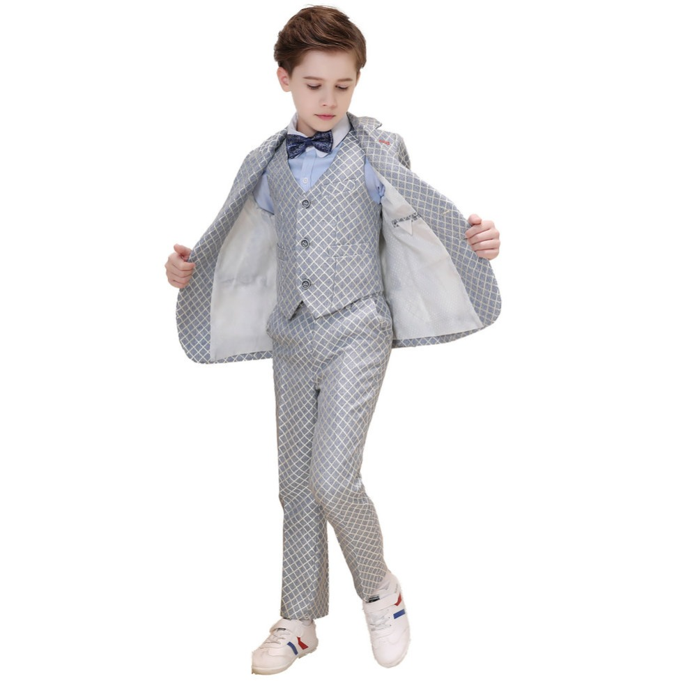 5 Piece Boys Silver Suits Slim Fit Ring Bearer Blue Suit For Boys Formal Classic Costume Weddings цена 2017