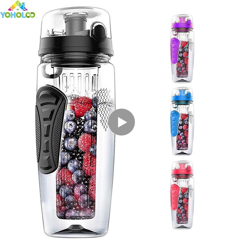 1000ml/32oz Outdoor Fruit Infuser Water Bottles Tour Sports Anti-Slip Fruits Water Bottles Lemon Reusable Tritan Fruits Bottles