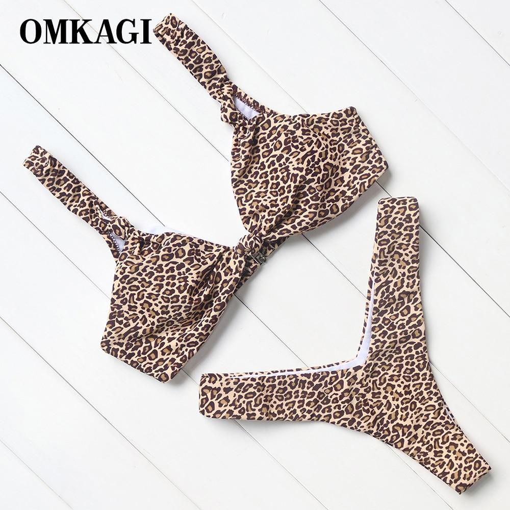 OMKAGI marca Floral leopardo Rosa Bikinis 2018 mujeres Sexy Bikini, Bikini brasileño, empuja hacia arriba el traje de baño Tanga de baño trajes de baño