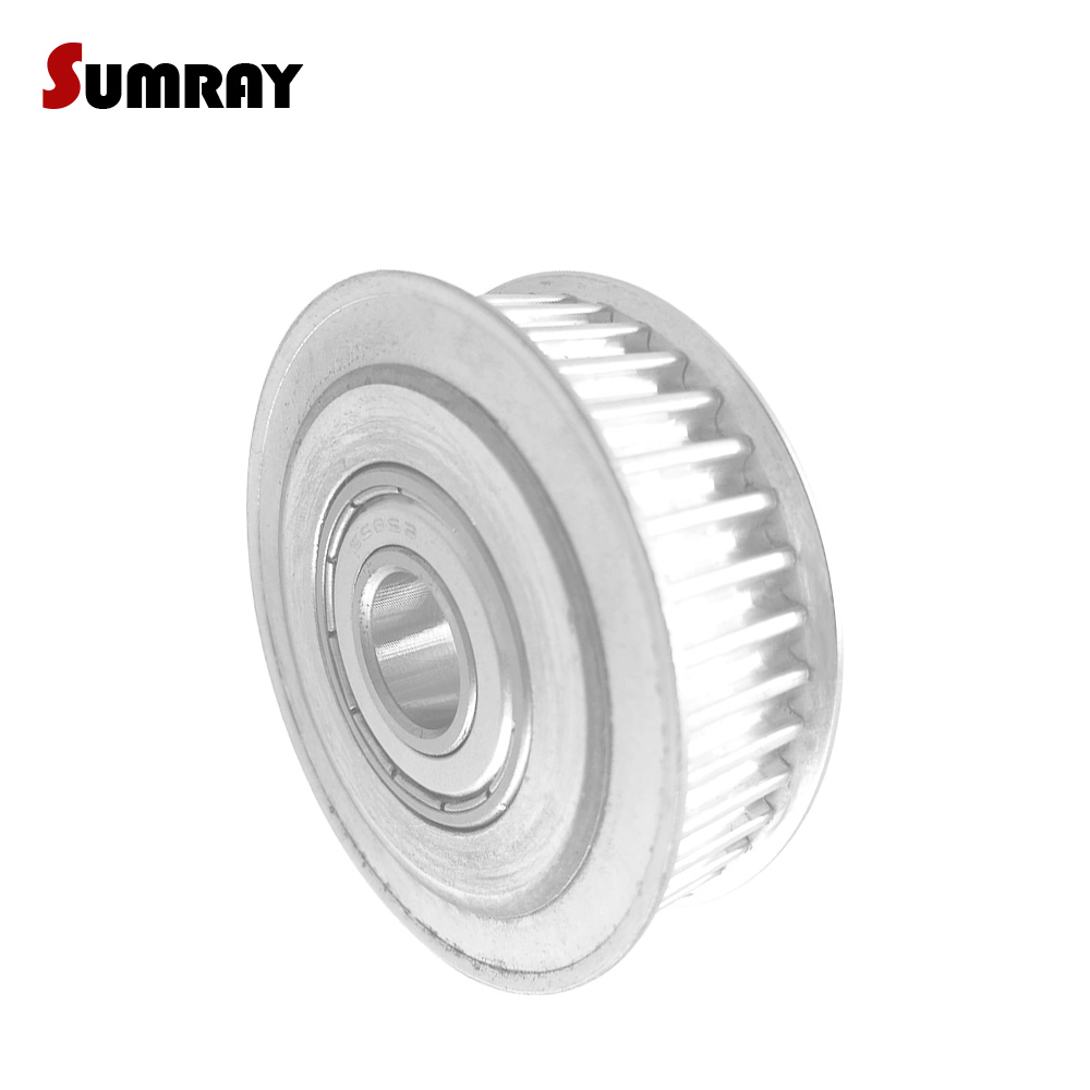 SUMRAY Idler Pulley 3M 60T with teeth Passive Pulley Wheel Bore 5/6/8/10/12/15mm Tooth Belt Idler Pulley Width 11/16mm hard anodized cast aluminum wire guide pulley extruding machine idler pulley