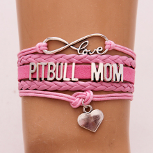"""Love Pitbull Mom"" Bracelet & bangles Heart Charm leather braided bracelets Jewelry"