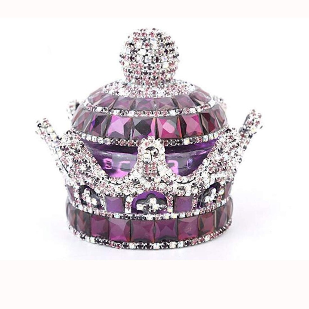 H&D Creative Luxury Bling Crystal Crown Car Perfume Fragrance Bottle Seat Ornament Home Office Air Freshener Home Decor (Purple)