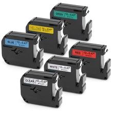 6PCS 12mm Compatible Brother M Tape M-K131 M-K231 M-K431 M-K531 M-K631 M-K731 for Brother P-touch PT65 PT70 PT80 PT85 12mm*8m cvgaudio m 83tm