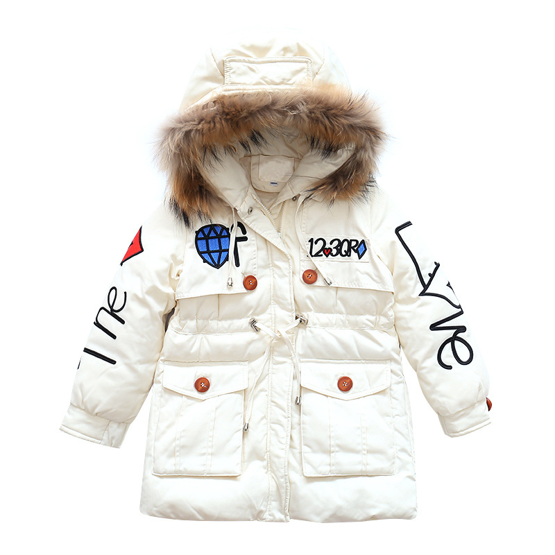Girls Cotton Clothing Children Embroidered Jacket Outerwear Autumn Warm Down Hooded Coat Teenage Parka Kids Winter Jacket 5-9T sequin embroidered zip up jacket page 5