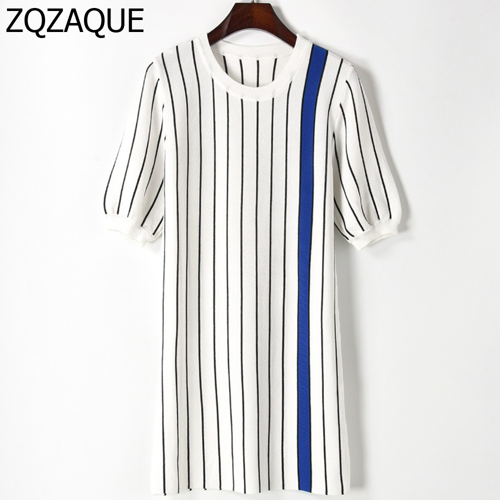Women Autumn New Striped Patchwork Nice Knitted Dress Half Sleeve Contrast Color Good Quality Lady One-piece Dresses SY1392 free shipping women lace dress 2016 autumn style good quality half sleeve casual dress o neck 55