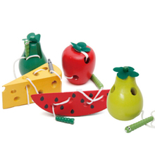 2017 New Kids Educational Toys Fun Wooden Toy Worm Eat Fruit Apple Pear Early Learning Teaching Aid Baby Toy Gift JK992228