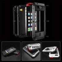 כיסוי טלפון נייד עמיד הלם עמיד למים אלומיניום אלמנט מתכת גורילה מזג זכוכית עבור iphone 4 4S 5 5S 5C SE 6 6 S בתוספת