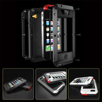 Aluminum Metal Element Waterproof Shockproof Mobile Phone Cover Gorilla Tempered Glass For iphone 4 4S 5 5S 5C SE 6 6S Plus