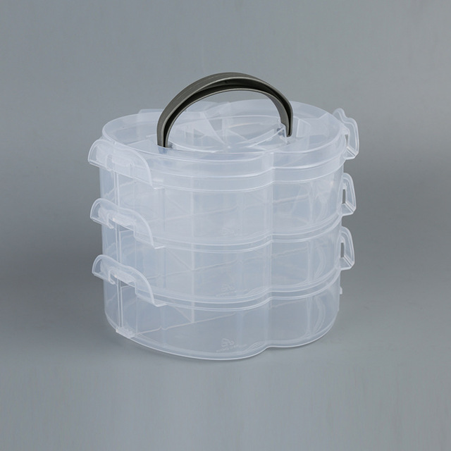 Three Transparent Plastic Jewelry Storage Category Medicine Box Packing Box Sewing  Supplies Storage Box