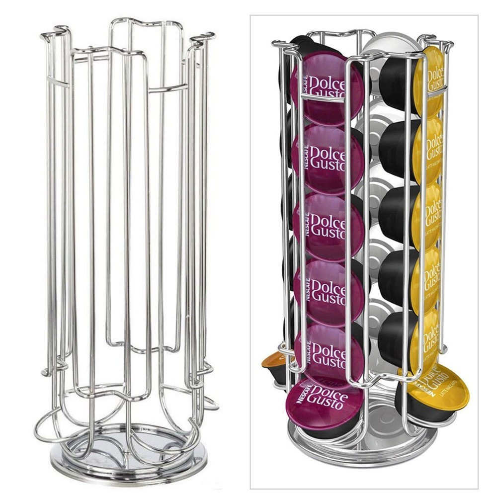 Hot Home Solutions Revolving Rotating 24/32 Capsule Coffee Pod Holder Tower Stand Rack For Dolce Gusto Storage Spinning Carousel