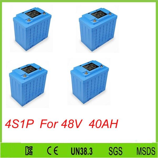 Free shipping 4pcs 4S1P  12V 400AH LiFePO4 battery, 12V 40ah  Lithium battery For 48V 40AH lifepo4 battery pack