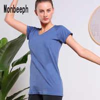 Monbeeph femmes t shirt Stretch col rond manches courtes noir bleu rouge vert vin rouge t-shirt
