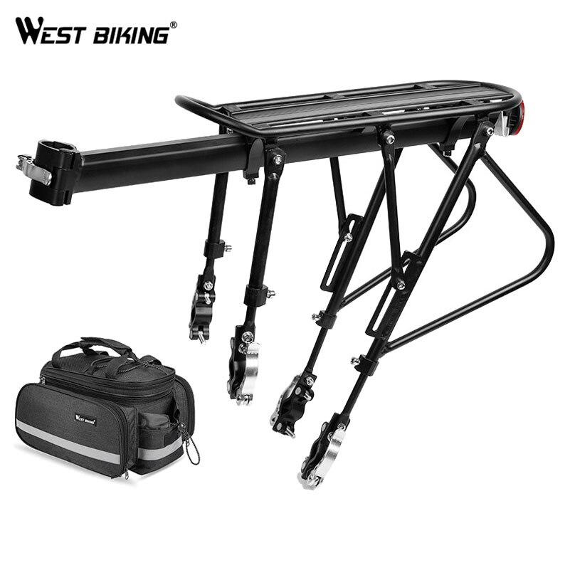 WEST BIKING MTB Bike Rack Aluminum Alloy Luggage Carrier Cargo Shelf Cycling Bag Pannier Trunk Quick