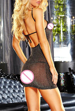 sexy lingerie Perspective gauze Halter sexy babydoll+G-string erotic lingerie sexy costumes
