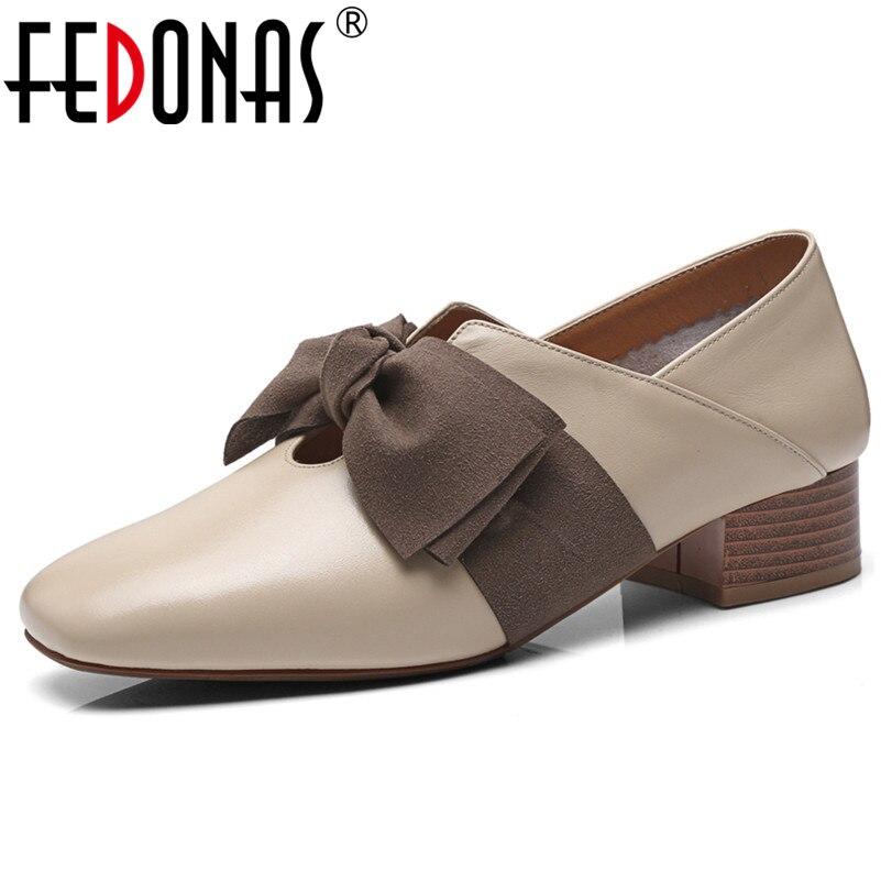 FEDONAS جودة جلد طبيعي مربع تو النساء مضخات الحلو الدانتيل يصل الضحلة 2020 الربيع الرقص مكتب الأحذية امرأة كعب مربع-في أحذية نسائية من أحذية على  مجموعة 1