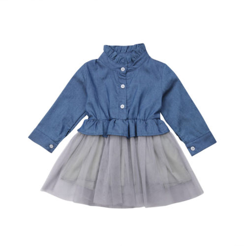 купить Baby Clothing Tutu Party Mini Dress Cute Toddler Clothes Patchwork Denim Shirt Dress Kids Baby Girl Long Sleeve Denim Tulle 1-6T по цене 486.18 рублей