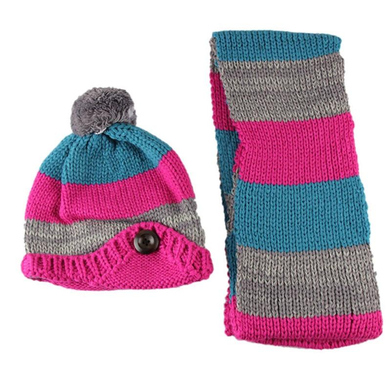 Unisex Winter Baby Hat and Scaf Set Cute Crochet Knitted Beanies Caps Earflaps for Boys Girls Children Kids Neck Warmer Skullies baby skullies boys caps headwear chapeau beanies