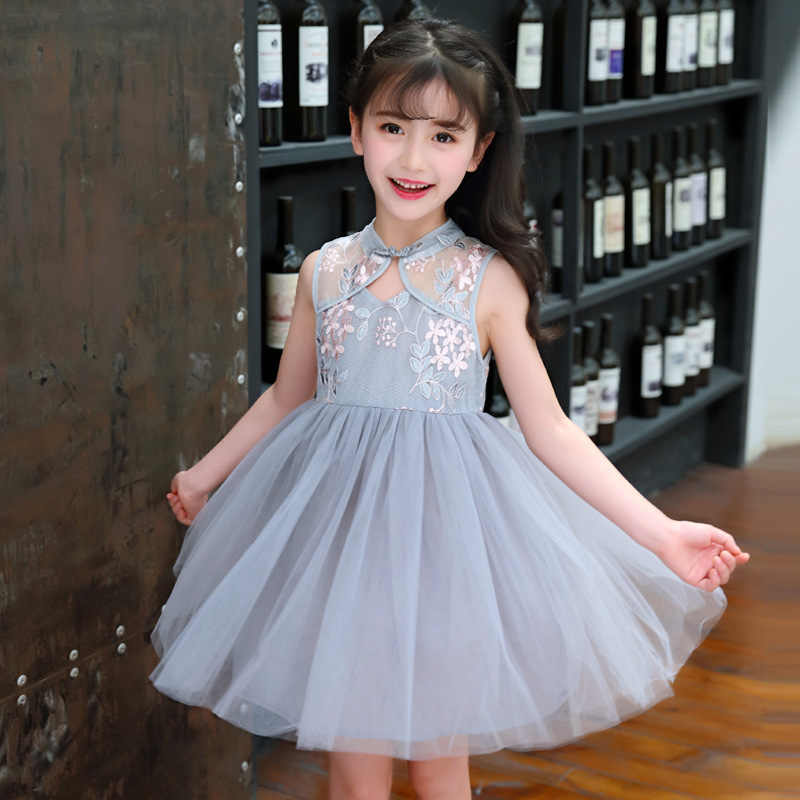 cac8c5f6250d2 baby girl embroidery floral cheongsam Dress Chinese Qipao Child Dresses for  4 - 14 yrs teenagers girls Lace dress summer clothes