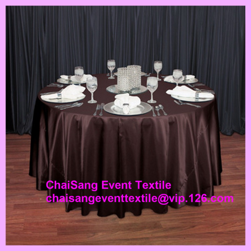 Free Shipping 10pcs #42 Chocolate Brown Round Satin Table Cloth ,Satin Table  Cloth For