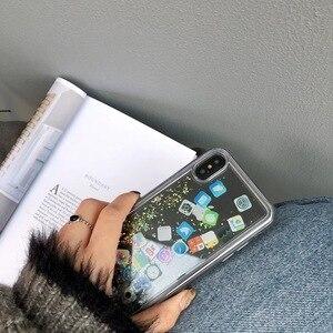 Image 5 - עבור iPhone 8 נוזל קשה PC ברור טלפון מעטפת עבור iPhone 6 6S 7 8 בתוספת X XS XR מקסימום מקרי חול טובעני כיסוי חמוד APP סמל מקרה קאפה