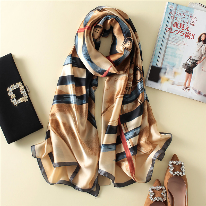 Women Silk   Scarf   Soft Buttons Pattern Long Shawl Blanket Silky Large   Wrap   NEW Design 180 x 90 cm [3237]