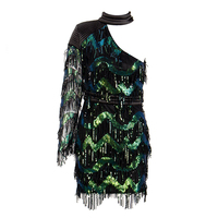 New Fahsion Hot Style Dark Green One Shoulder Sparkly Chic One Shoulder Short Women Date Evening Party Dress Vestidos Wholesale
