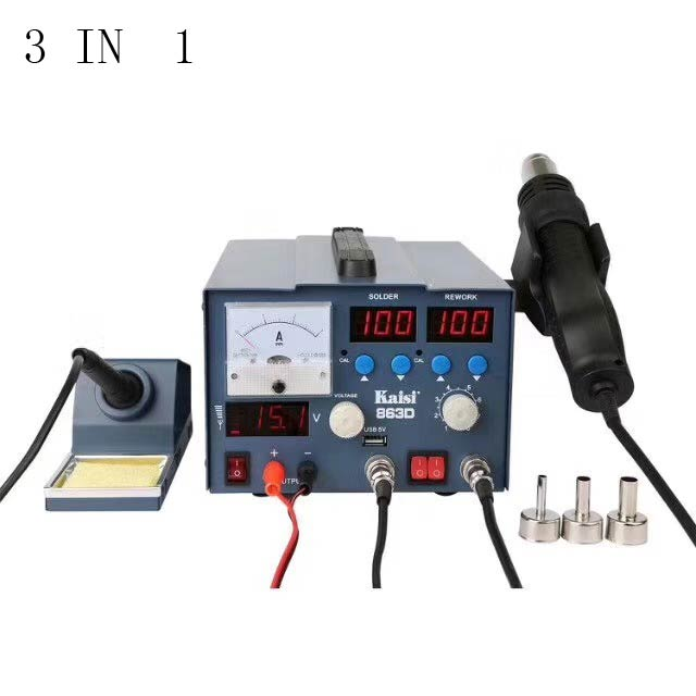 New 3 IN 1 800W kaisi 863D BGA rework station solder iron with LED hot air gun DC power supply 15V 3A Mobile phone repair hot air gun clamp holder for mobile phone repair platform bga rework tool f 204