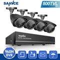 SANNCE HD 800TVL 8CH Sistema CCTV 960 H HDMI DVR Kit IR Cámaras de Seguridad A Prueba de Agua Al Aire Libre Kits de Vigilancia de Visión Nocturna