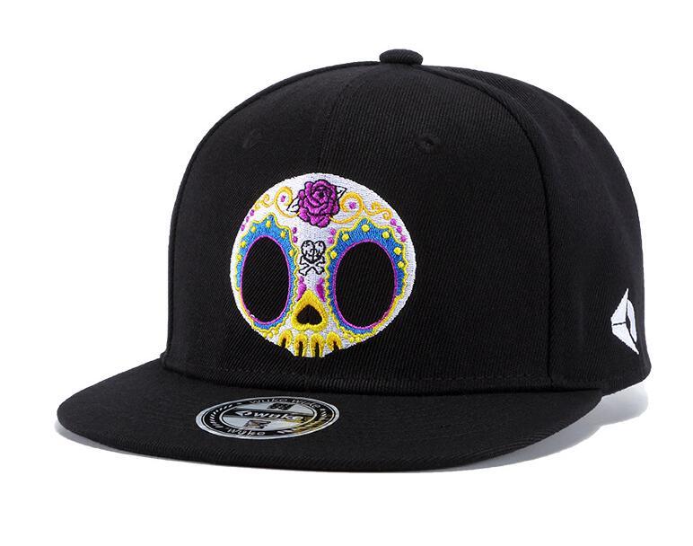 100% Quality 2018 New Gorras Planas Hot Style Cartoon Skeleton Print Flat Hat Baseball Cap Hip Hop Cap Hat For Man Swag Mens Snapbacks Grey