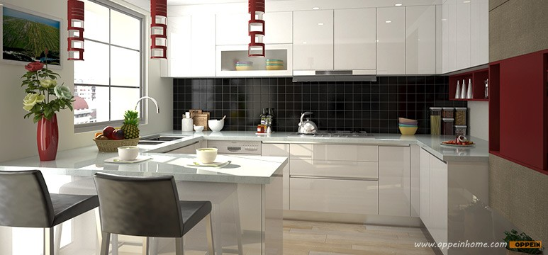 Bangladesh New Design Project Double Color Lacquer Kitchen Cabinet