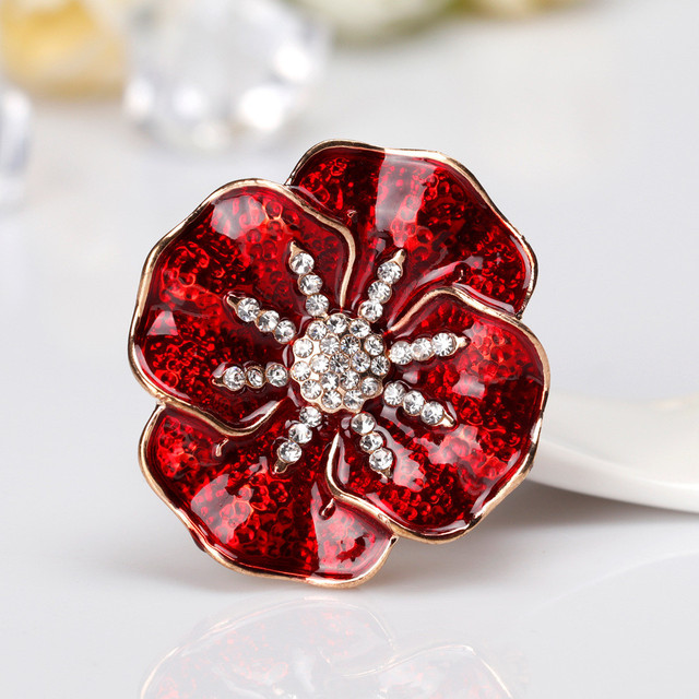 US $1 78 33% OFF|Enameled Red Poppy Brooch Pin Rhinestone Flower Pin  Garment Accessories-in Brooches from Jewelry & Accessories on  Aliexpress com |