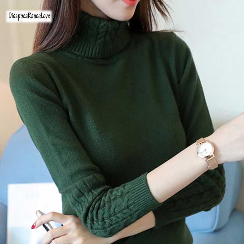 DRL 2017Winter Turtleneck Sweater Women 2018 New Design Green Thick Tricot Women Sweater And Pullover Female Jumper Tops