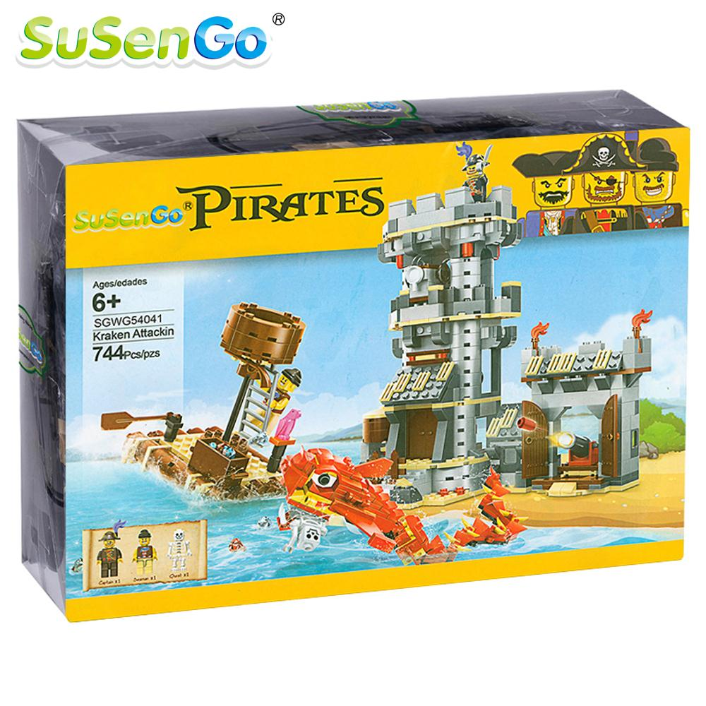 SuSenGo Toy Building Blocks Kraken Attackin Pirate Sea monster Aattacks Figures Children Kids Gift 744 Pcs susengo pirate model toy pirate ship 857pcs building block large vessels figures kids children gift compatible with lepin