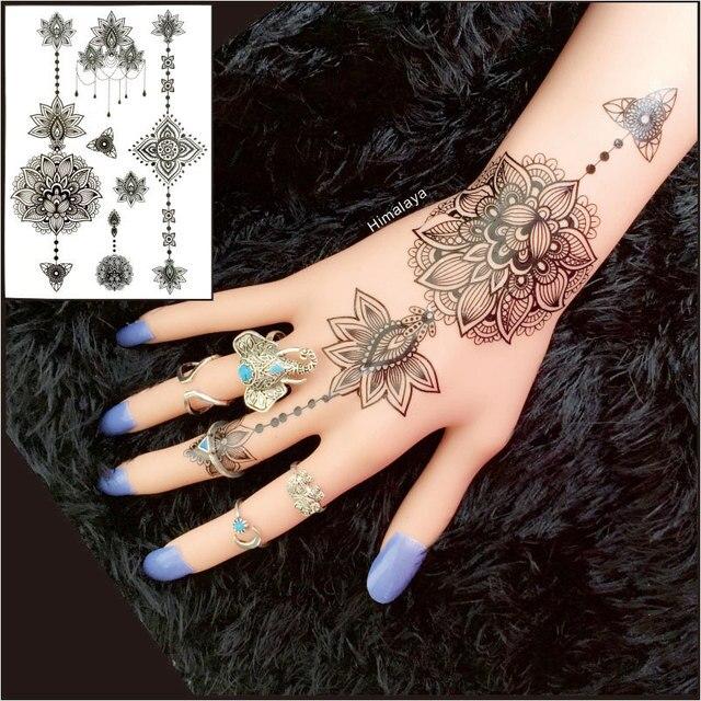 a6badd105bd51 #BH-10 1 Piece Lotus Flower Black Henna Tattoos Temporary Inspired Body  Tattoos Stickers