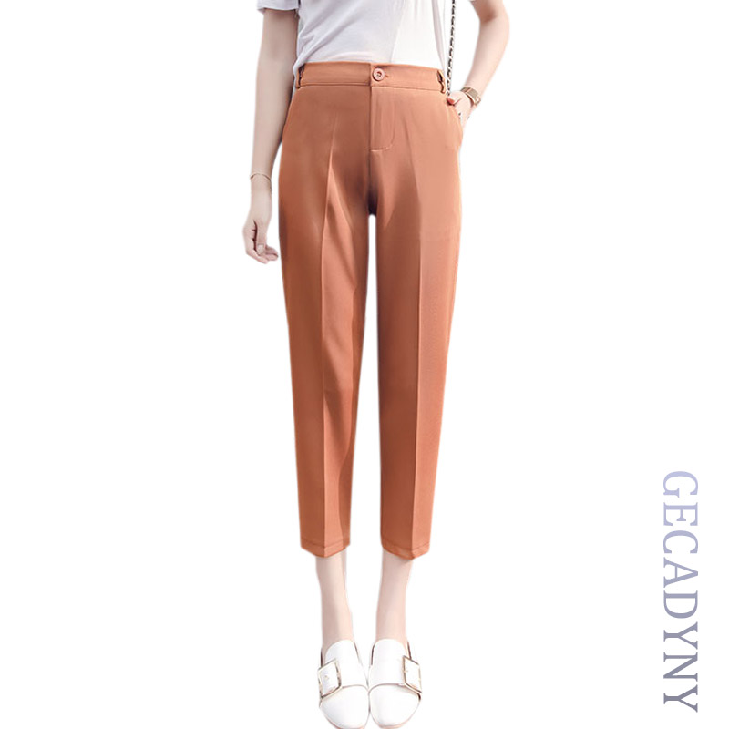 Women Cropped Harem   Pants   Women Solid Plus Size Casual   Pants   2019 Fashion High Waist Ladies OL Work Wear Elegant   Pants     Capris