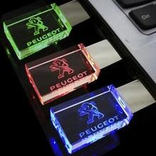 Top Quality  4GB 8GB 16GB 32GB Car Logo for PEUGEOT Crystal USB Flash Drive Memory Stick Pen/Thumb/Car, Red/Blue/Green LED Light