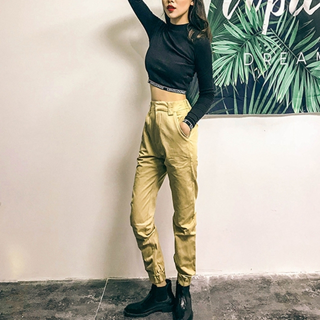 High waist loose joggers army pants street wear black cargo pants trousers 4