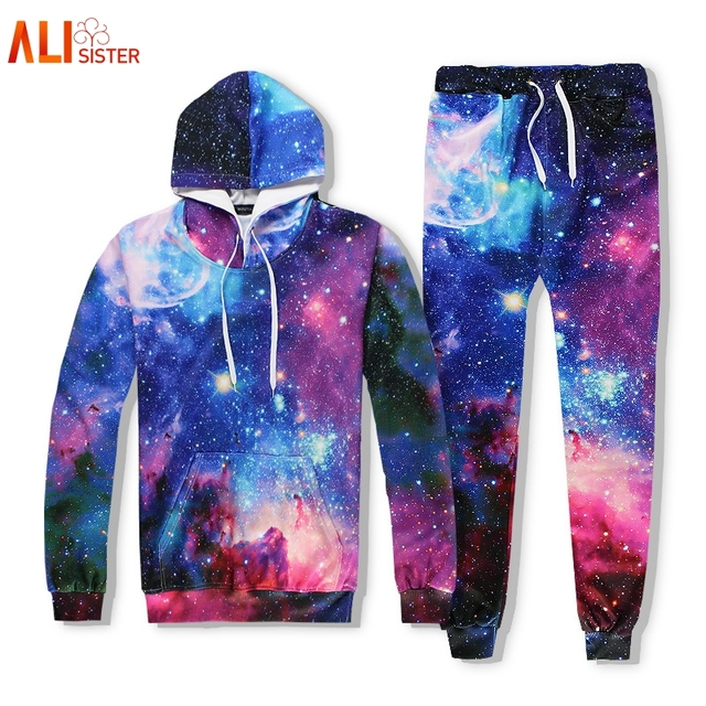 82e6c4e19b1e Alisister Funny Galaxy Space 3d Sweatshirt Suit Women Men 2 Pcs Hoodies  Pants Harajuku Women s Galaxy Hoodies Sudaderas Mujer