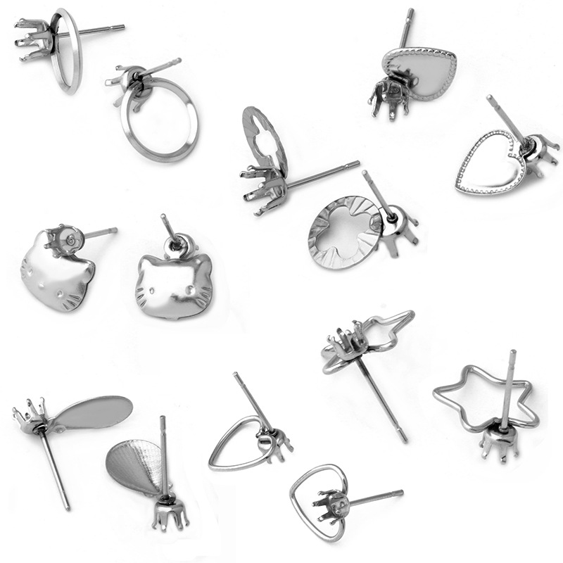 20pcs/pcs Stainless Steel Earrings Pendant <font><b>Connector</b></font> Blank Base Accessories DIY Jewelry Making image