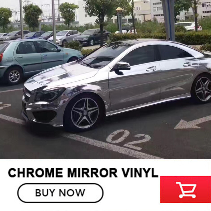 5x65FT Silver Chrome Mirror Vinyl Wrap Roll Stretchable with heat for alfa romeo decal for benz Small profits but quick returns nitro triple chrome plated abs mirror 4 door handle cover combo