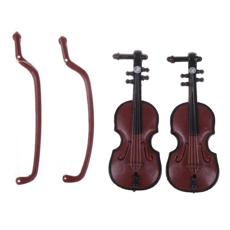 Home Confident New Hot Sale Miniature Music Instrument Plastic Mini Violin Dollhouse Decorative Ornaments Plastic Crafts Diy Home Decoration