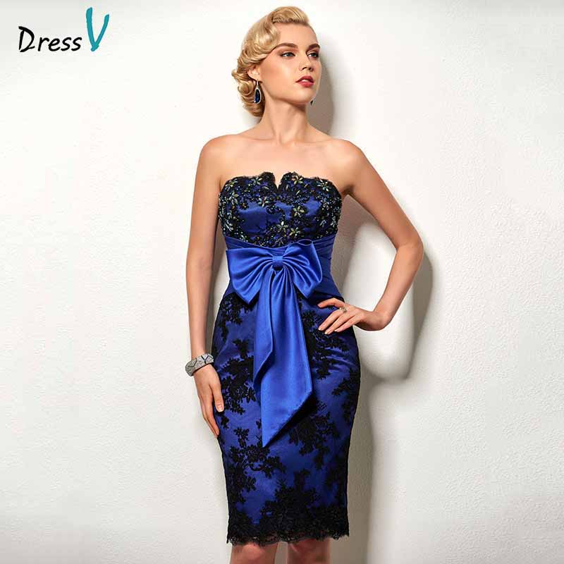 Dressv foncé bleu royal sans bretelles robe de cocktail élégant appliques genou longueur de mariage partie formelle robe de cocktail robes