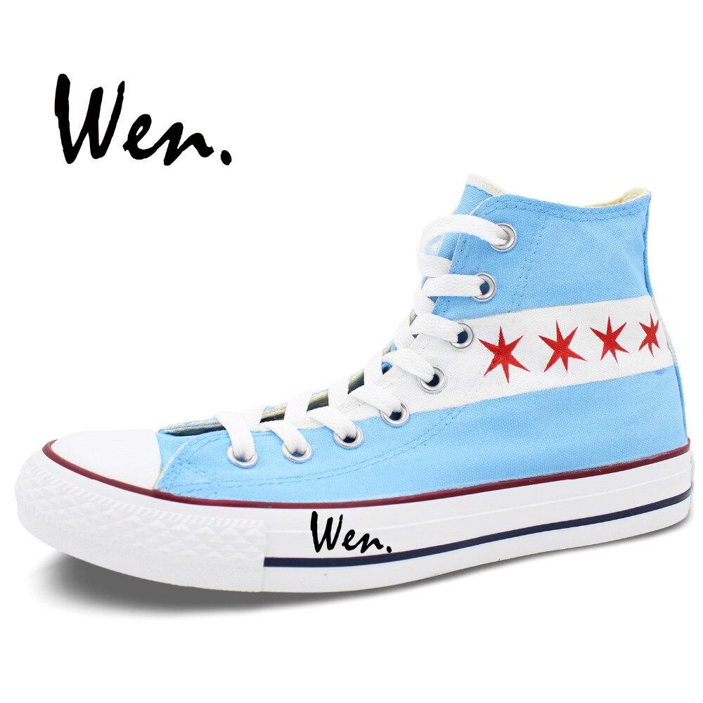 Wen dizajn Custom ručno oslikane cipele Chicago Flag City Skyline - Tenisice - Foto 3