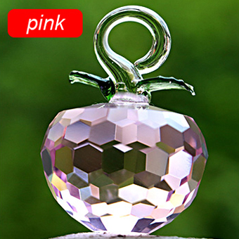 50mm 1.9inch New Year Chirstmas Tree Hanging Cut Pink crystal Glass Apple Ornaments decoration 2017 Navidad Home natal decor