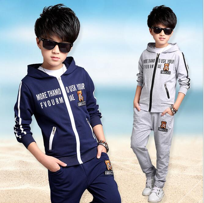 Korean Kids Clothes Hooded Spring Autumn Conjunto Menino Printing Letter Sports Suit For Boys Leisure Two-piece Zipper Coat Sets 2017 new fashion spring autumn girls two pieces suit children coat princess dress suit korean leisure sweet kids clothes dc129
