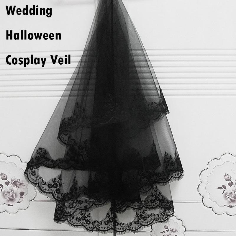 1PC Halloween Hair Witch Comb Black Veil Bride Lace Veil Veil Wedding Vintage Elbow Bridal Lace Veil Hat Cosplay Costume 35