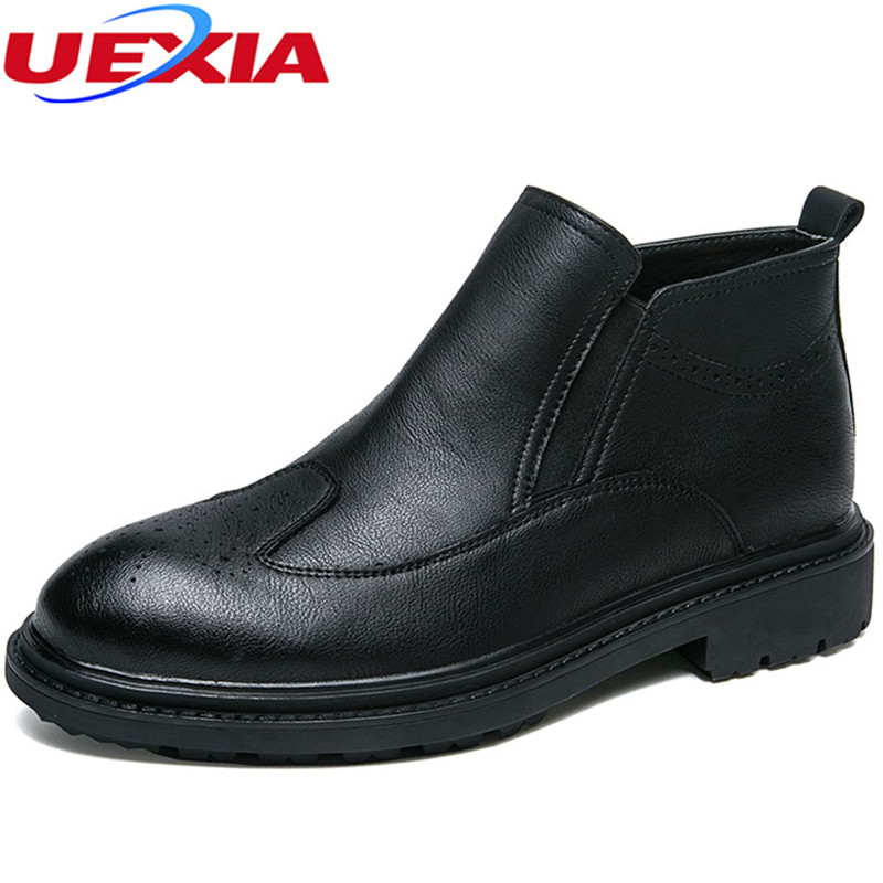 UEXIA Men Boots Ankle font b Shoes b font Leathe Cowhide Elastic band Retro Design Tooling